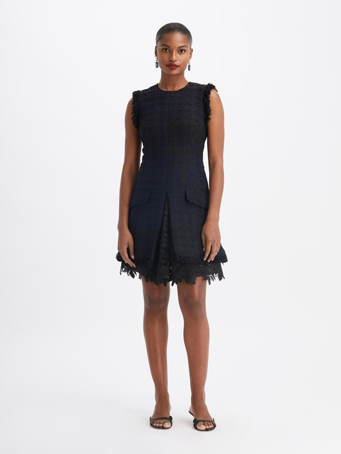 Sleeveless Tweed Day Dress Midnight