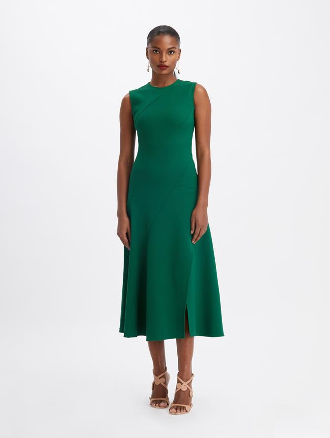 Sleeveless Stretch Wool Slit Dress Evergreen