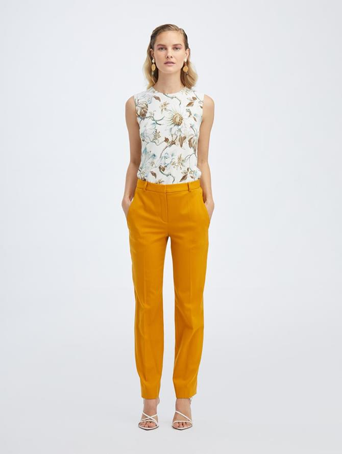 Stretch Wool Straight Leg Pant Honey