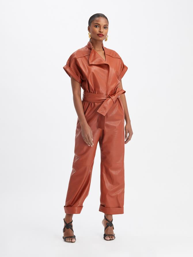 Leather Tie-Waist Jumpsuit
