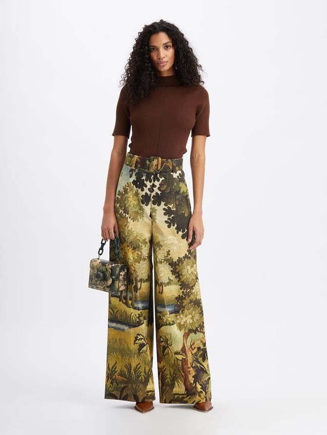 Landscape-Print Wide Leg Pant Hunter Multi