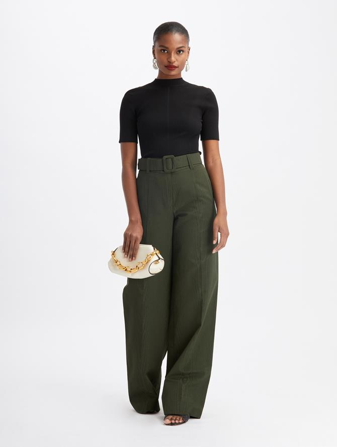 Moiré Faille Wide Leg Pants Hunter