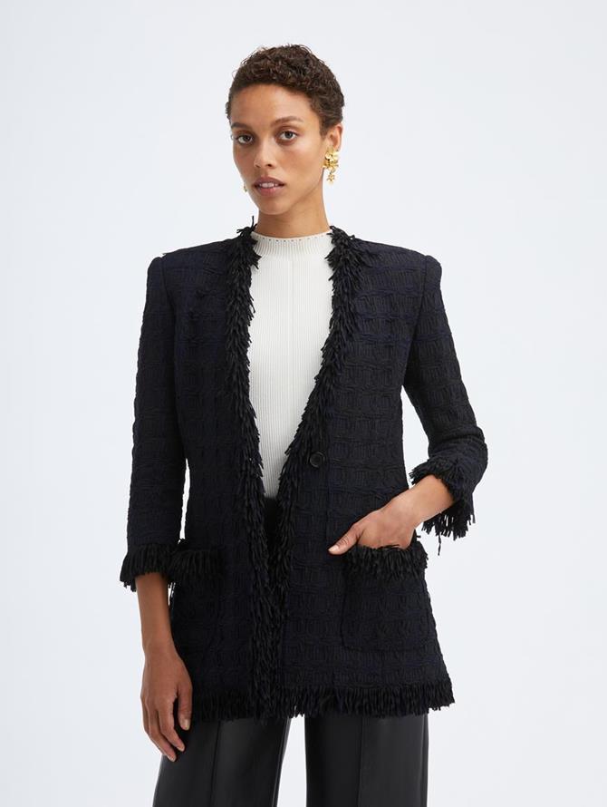 Tweed Collarless Jacket Midnight