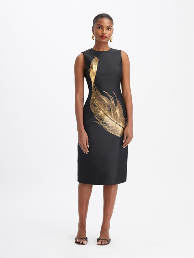 Silk Lurex Feather Midi Dress Black/Gold