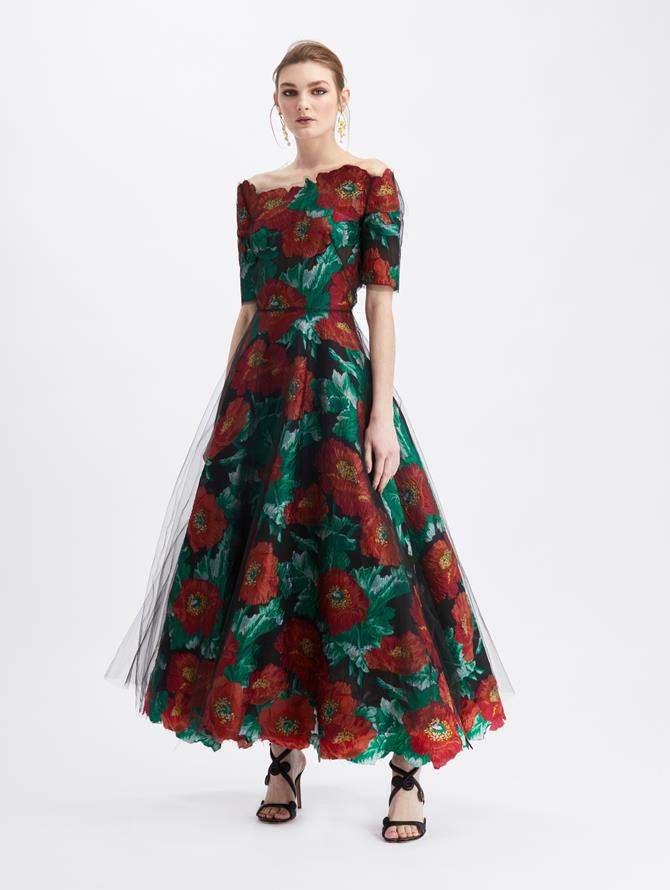 Vintage Poppy Fil Coupé Illusion Tulle Cocktail Dress