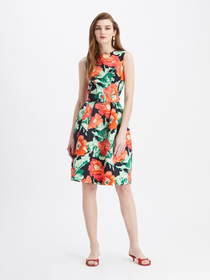 Vintage Poppies Faille Cocktail Dress