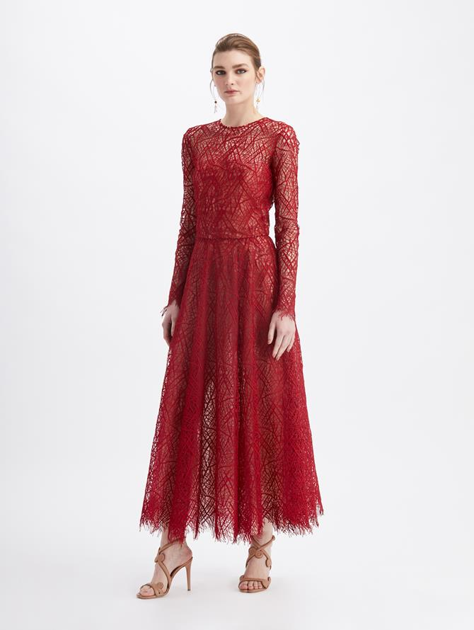 Guipure Lace Midi Cocktail Dress