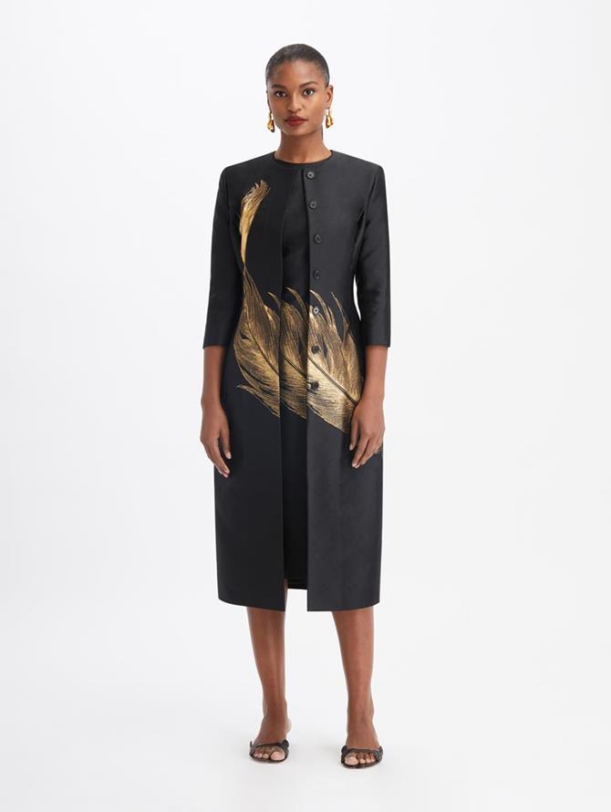 Jacquard Suit Coat Black/Gold