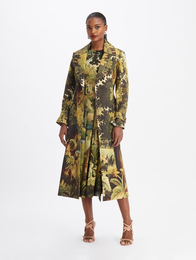 Landscape-printed Belted trench Coat Hunter Multi