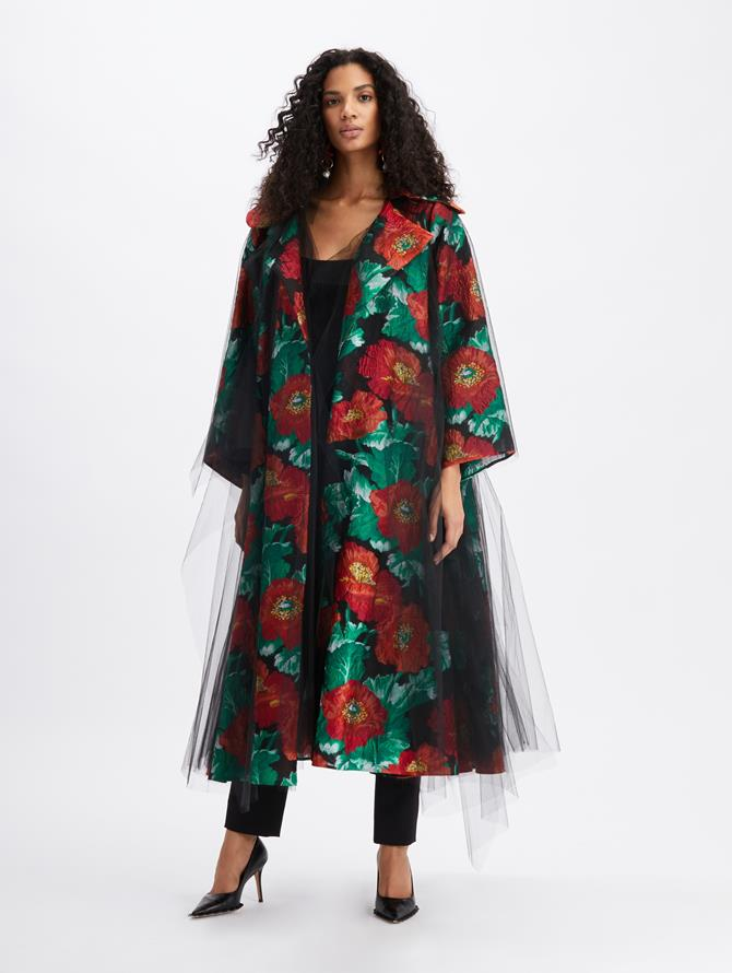 Fil Coupé Tulle Coat Black/Cherry
