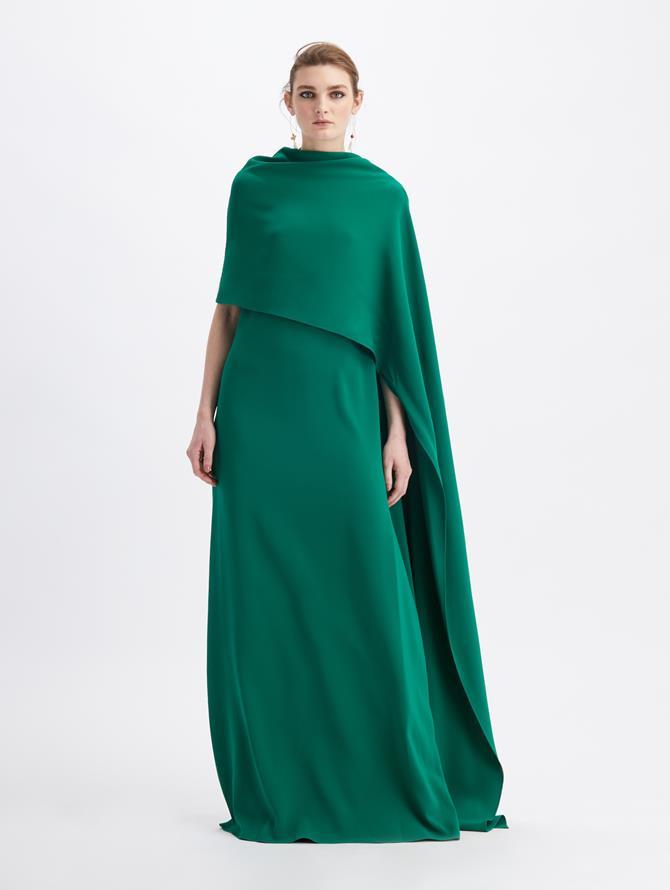 Emerald Green Caftan With Brooch