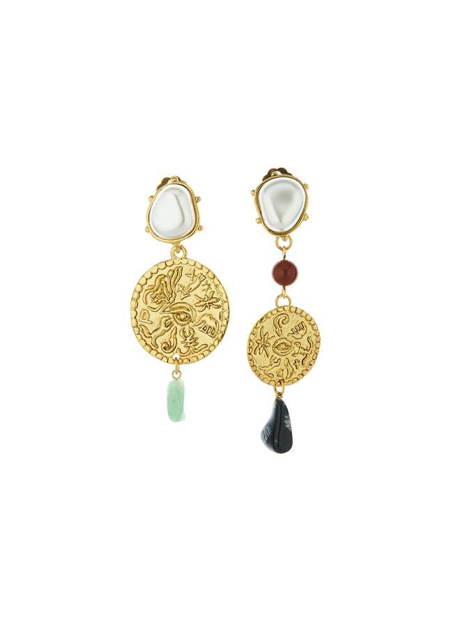 Coin & Semi Precious Stone Earrings Gold