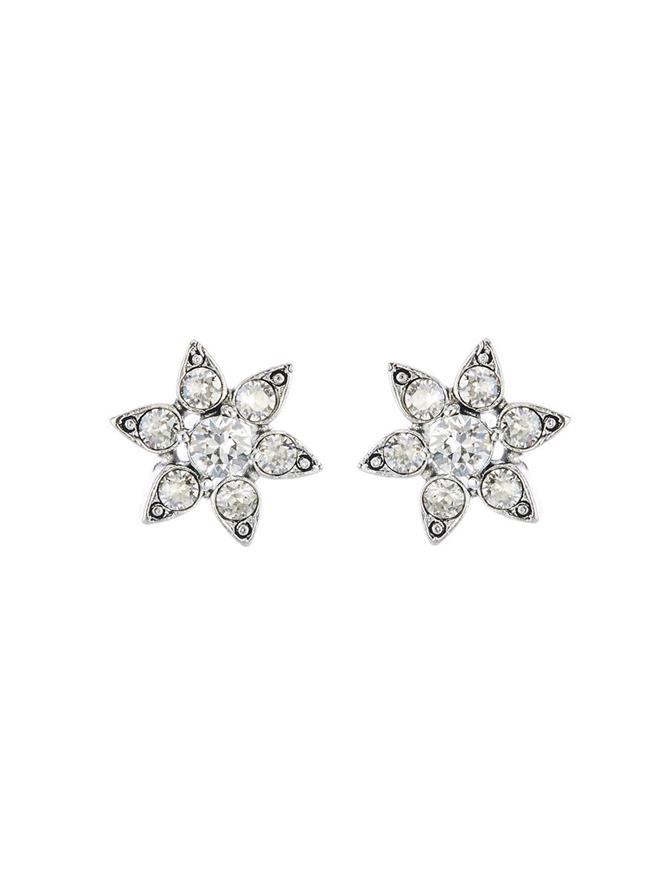 Crystal Flower Button Earrings Cry Shade/Silver