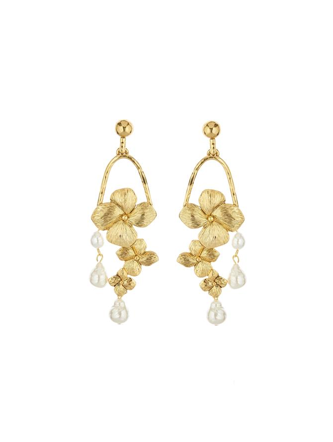 Flower With Pearls Earrings Gold