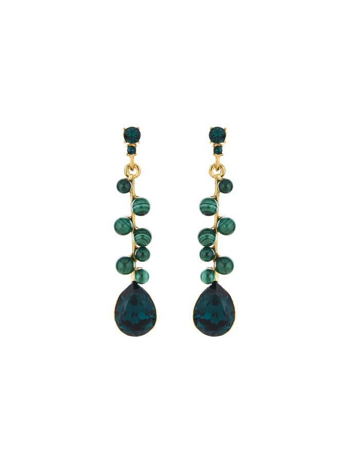 Sputnick Bead Earrings Green Malachite