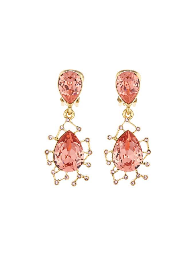 Floating Crystal Drop Earrings Rose