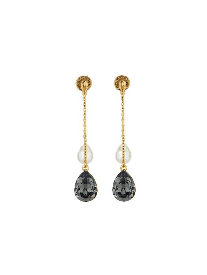 Pearl & Crystal Earrings Black Diamond