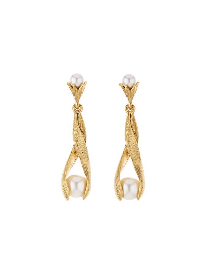 Leaf Pearl Drop Earrings White Pearl