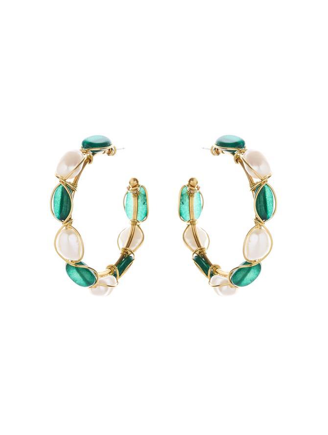 Green Jade Hoop Earrings Green Jade