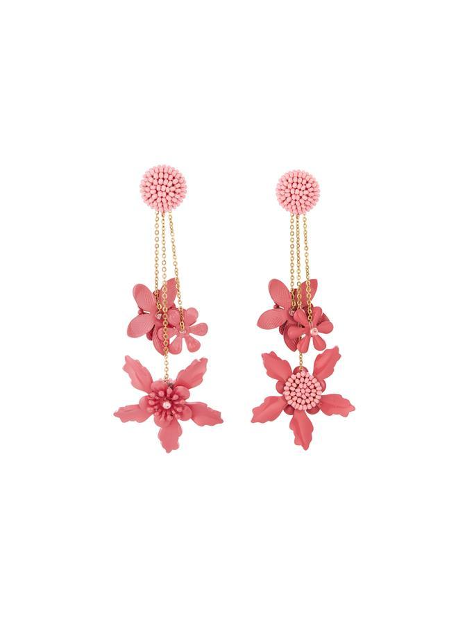 Embroidered Flower Earrings Sorbet