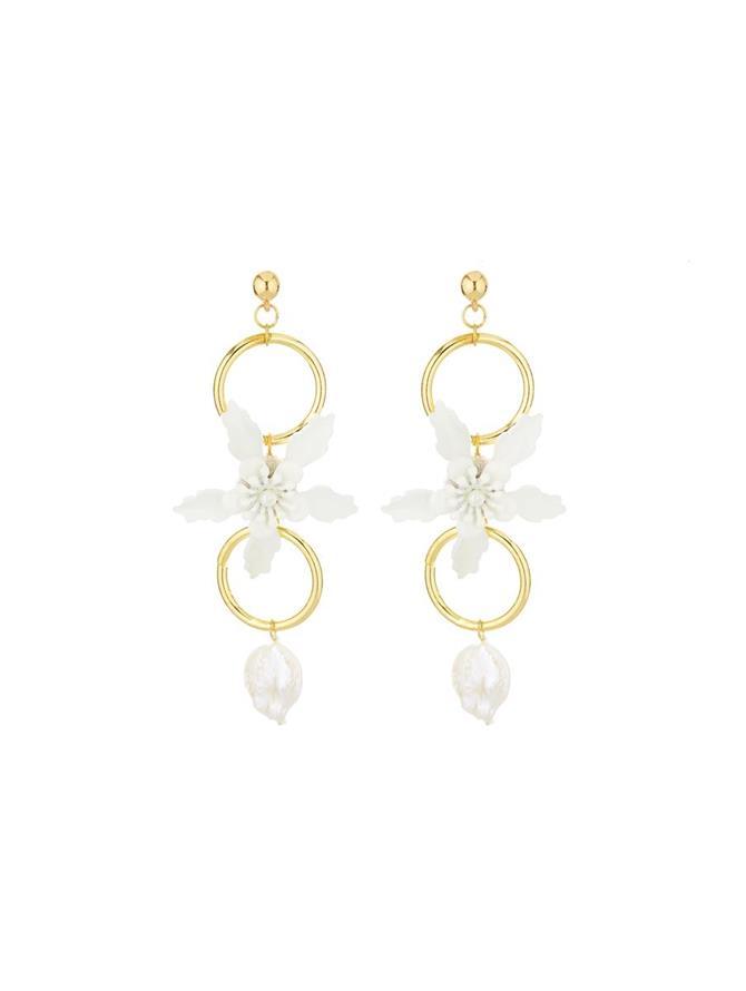 Flower Pearl Earrings Ivory