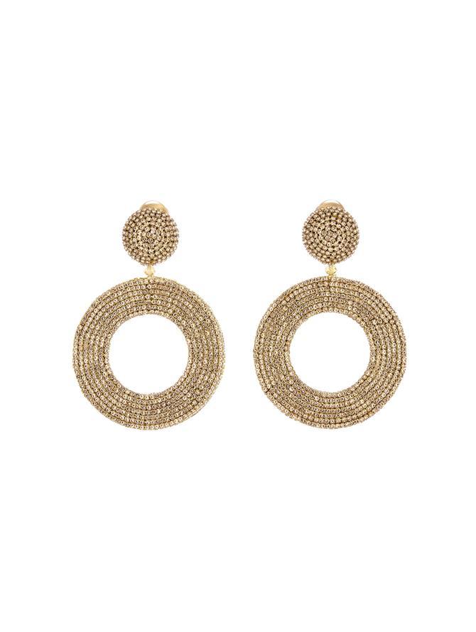 Crystal Hoop Earrings Cry Gold Shadow