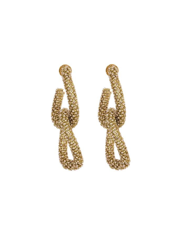 Embroidered Gold Link Earrings