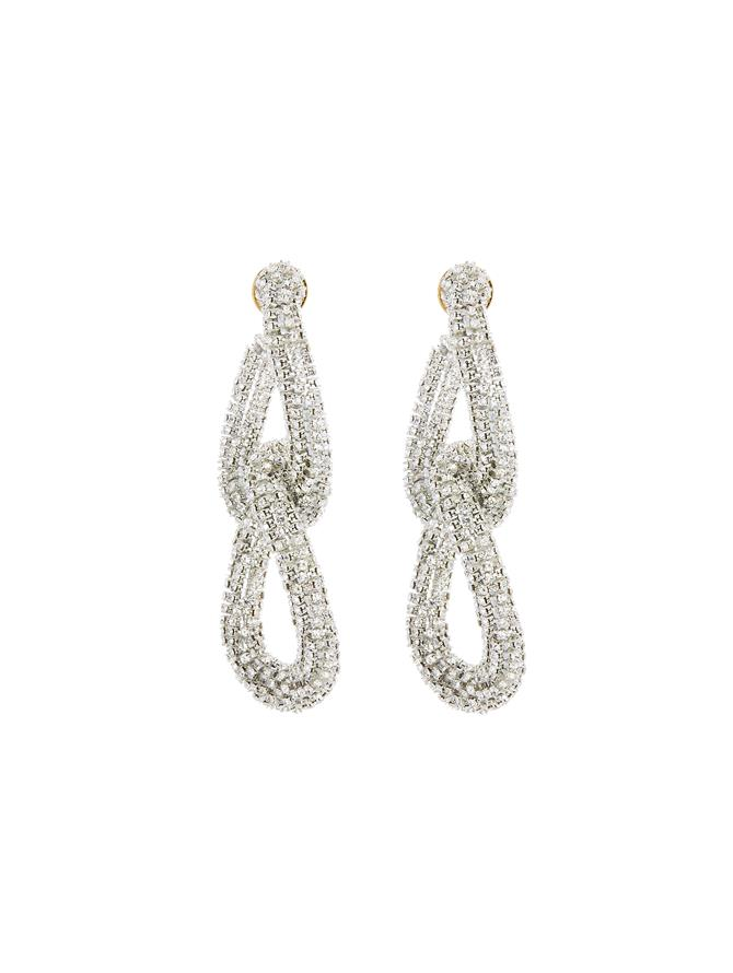 Embroidered Crystal Link Earrings