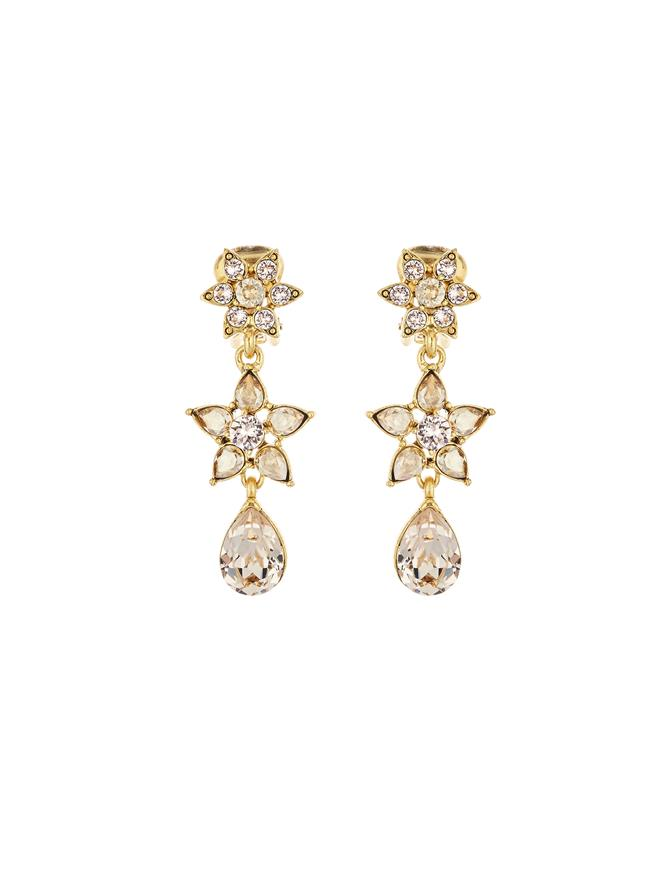 Flower Crystal Drop Earrings