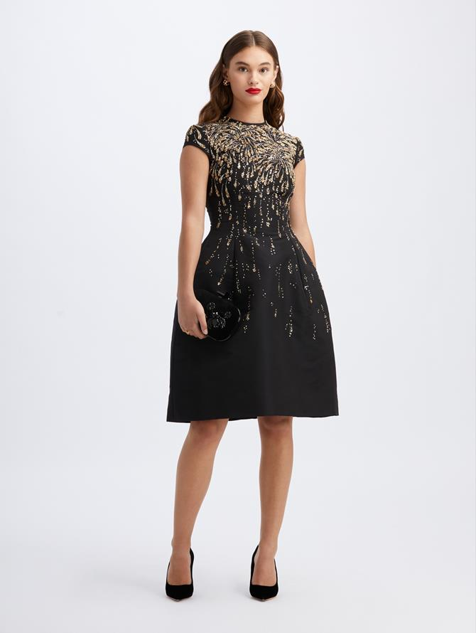 Firework-Embroidered Cocktail Dress