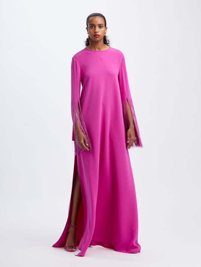 Beaded Fringe Caftan Orchid