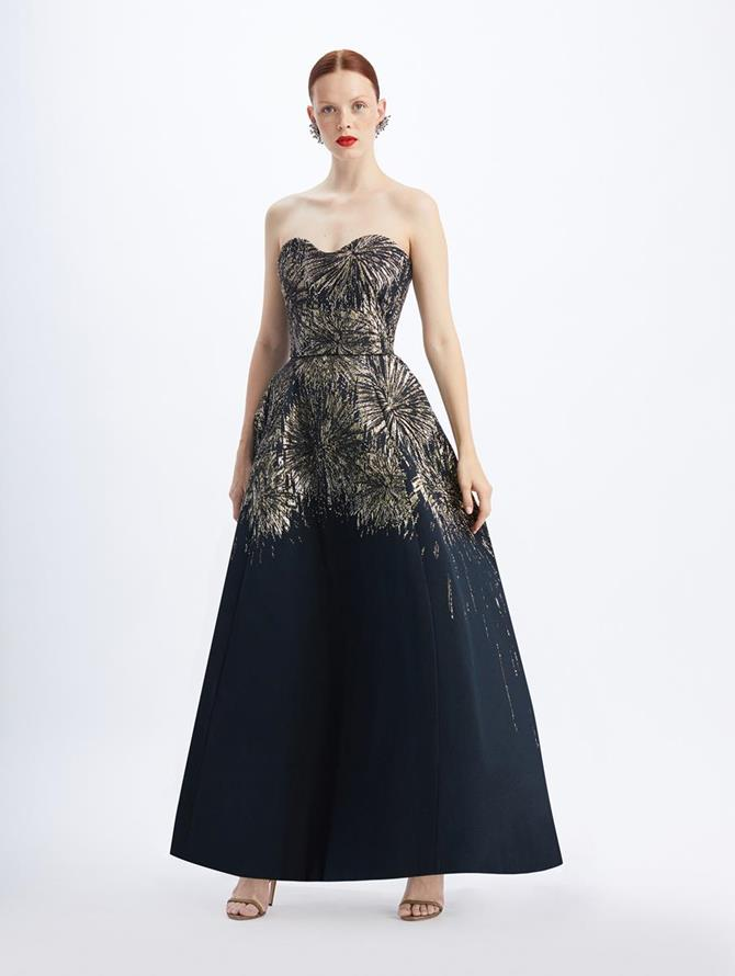 Strapless Jacquard Fireworks Gown