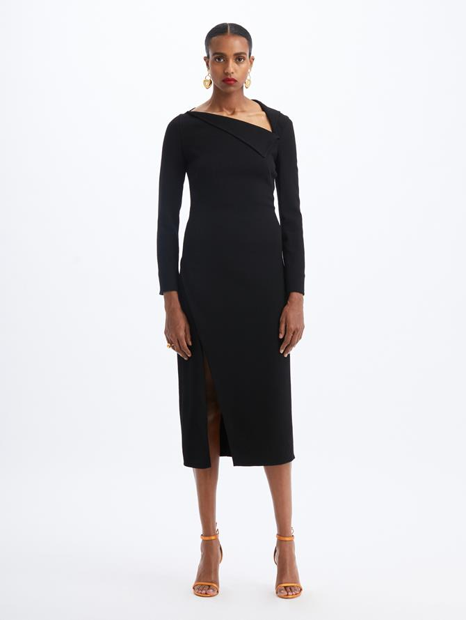 Asymmetric Midi Dress Black