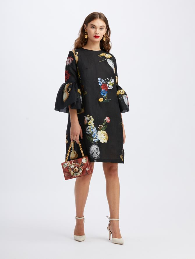 Fil Coupé Chiaroscuro Print Dress