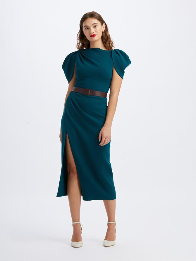 Draped Sleeve Slit Midi Dress
