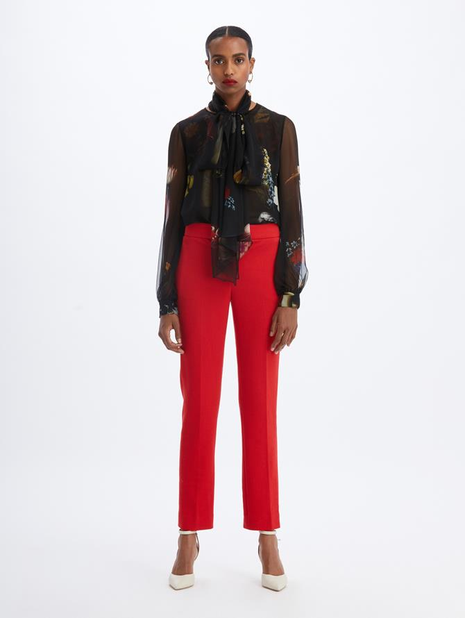 Cropped Ankle Pant Crimson