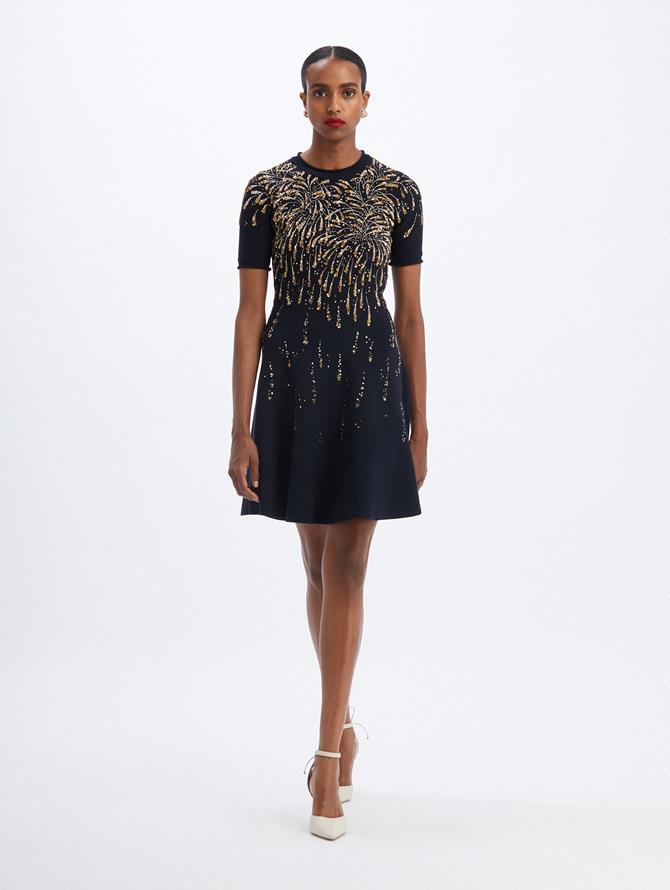 Knit Firework Embroidered Mini Dress