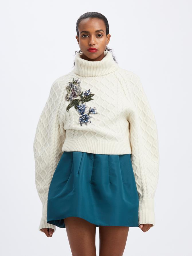 Ivory Embroidered Knit Pullover