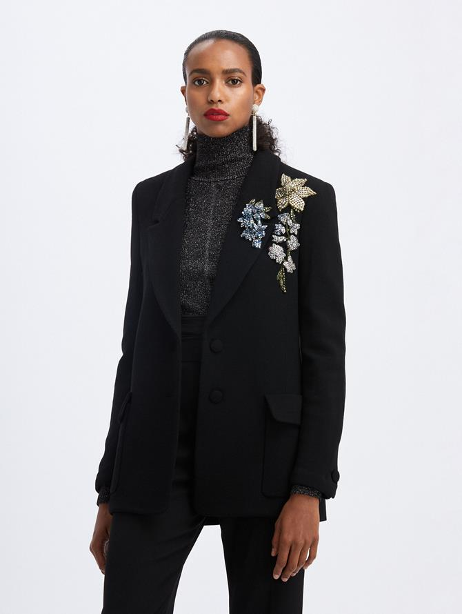 Jeweled Flower-Embroidered Blazer