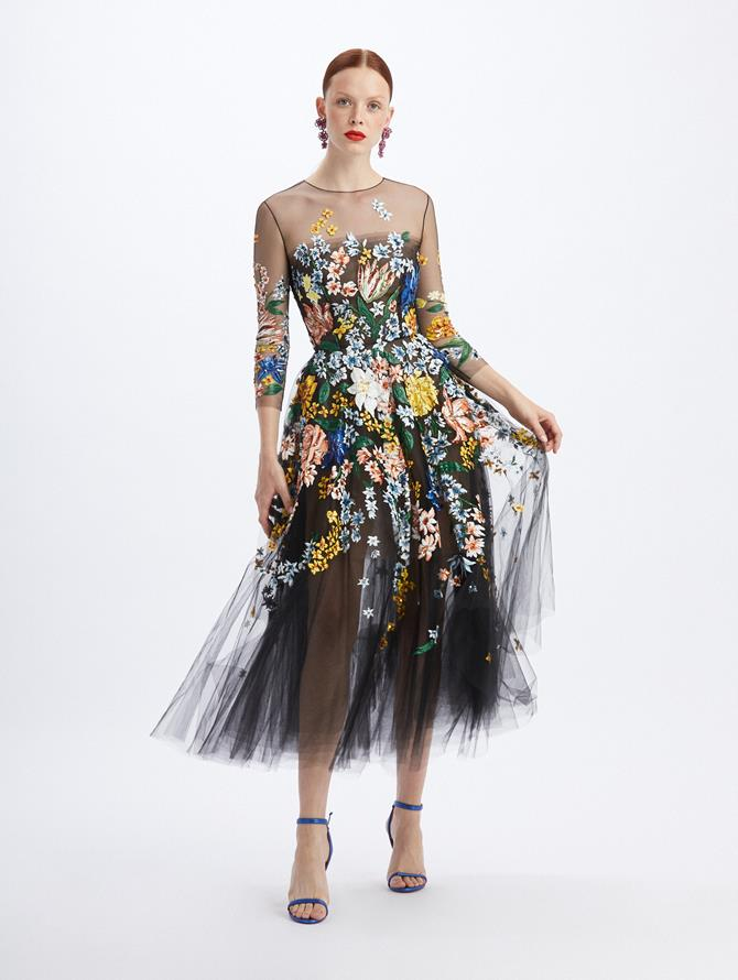 Bouquet Tulle Cocktail Length Dress