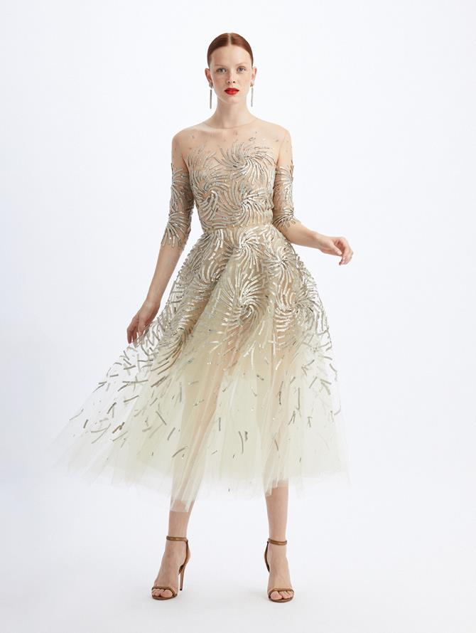 Embroidered Tulle Cocktail Dress