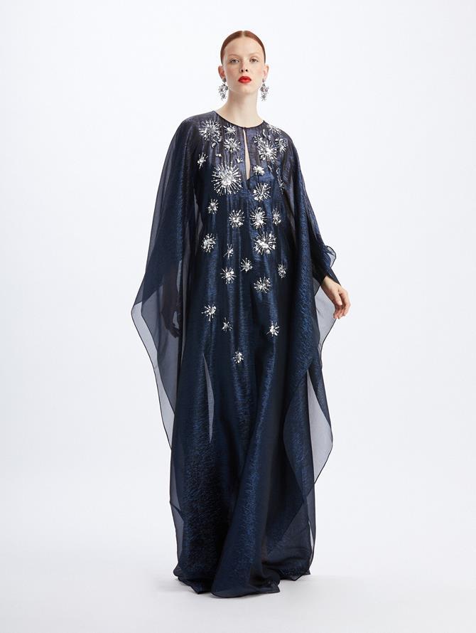 Lamé Caftan with Star Embroidery