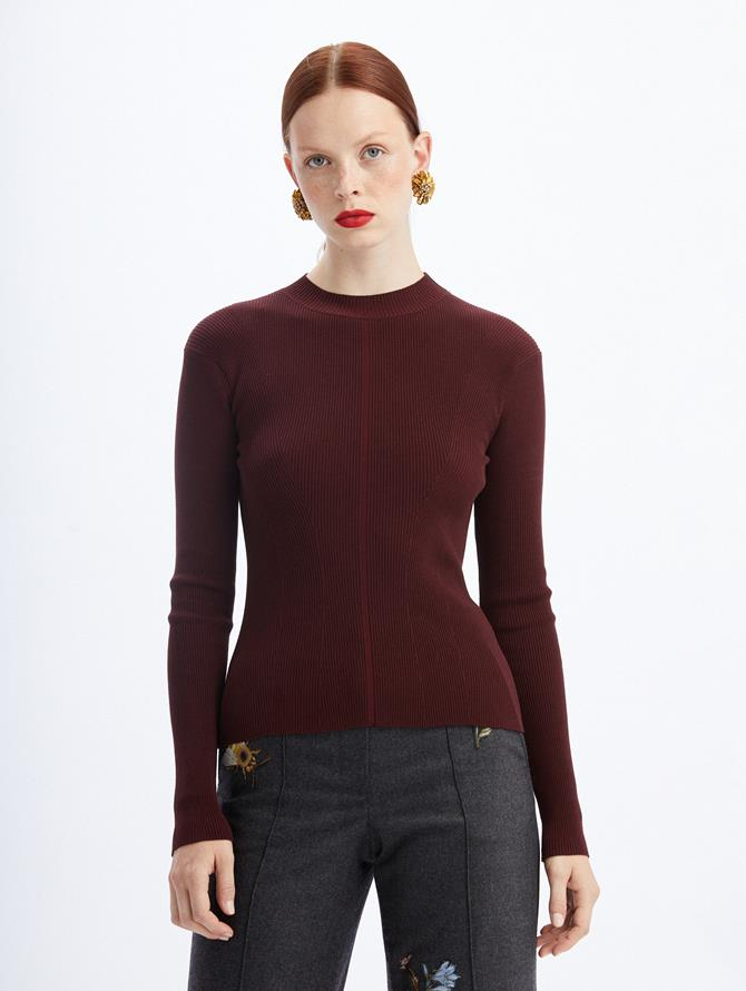 Crewneck Ribbed Knit Sweater Aubergine