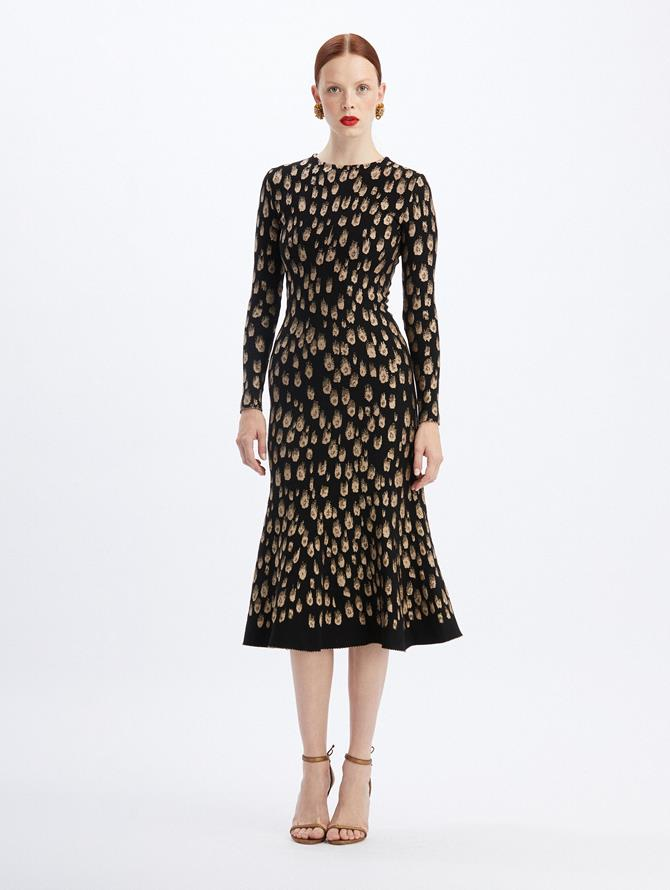 Spotted Lurex Midi Dress