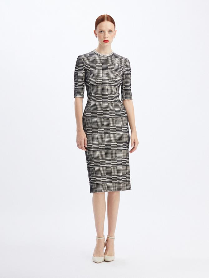 Multi-Check Jacquard Dress Navy/Ivory