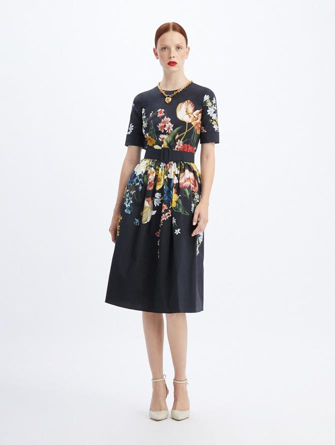 Belted Poplin Bouquet Dress