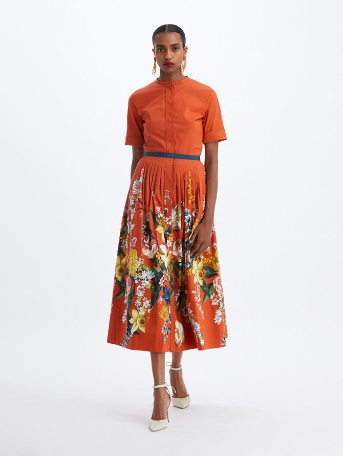 Pleated Poplin Bouquet Shirtdress
