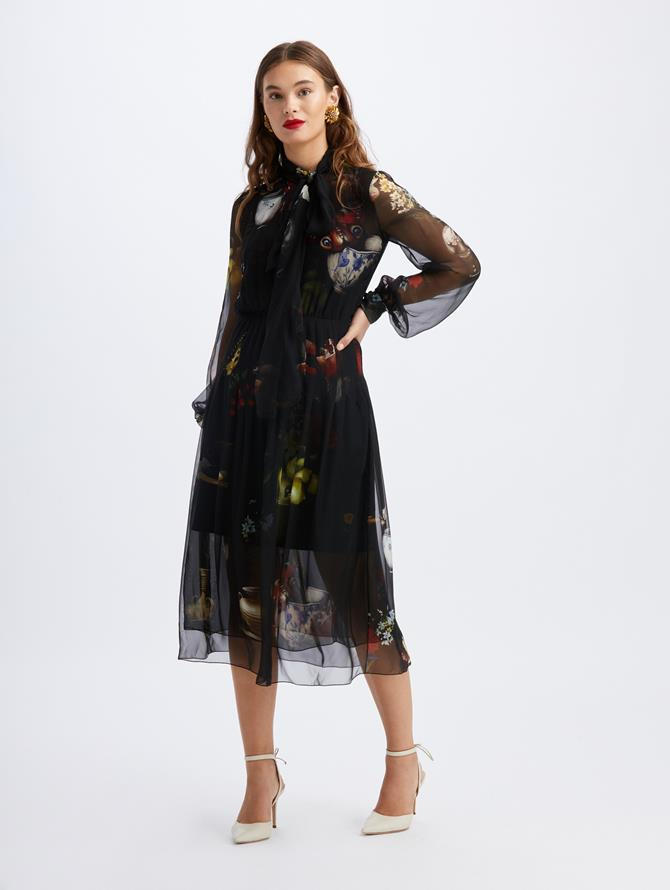 Chiffon Chiaroscuro Scarf Midi Dress Black Multi