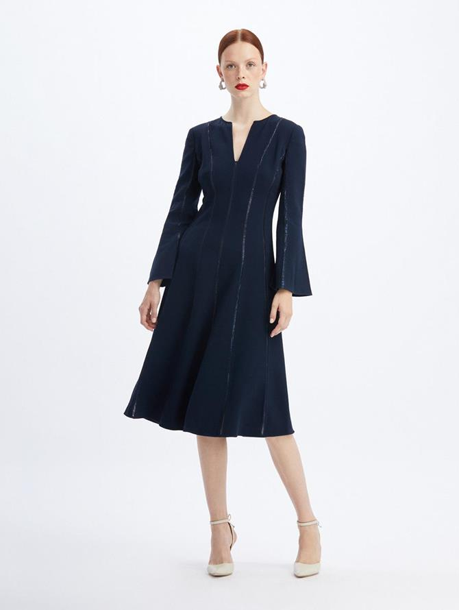 Lamé Inset Midi Dress