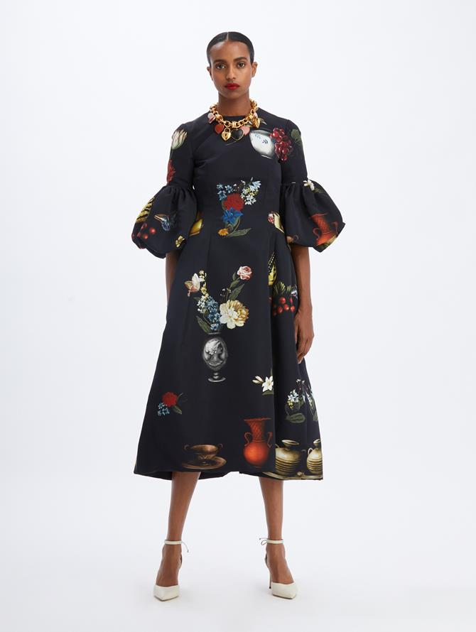Chiaroscuro Bell Sleeve Midi Dress